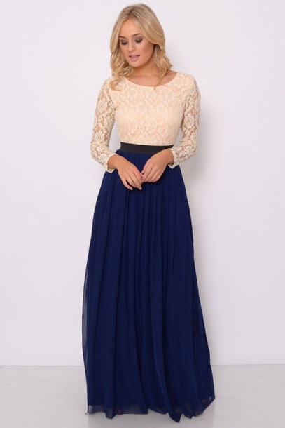 dress two-tone; long dress; navy b