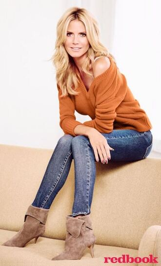shoes ankle boots heidi klum jeans sweater top fall outfits