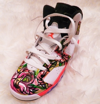 shoes jordans air jordan air jordan 6 custom sneakers dope pretty white orange pink green