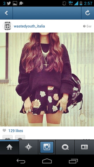 skirt skater skirt black skater skirt flower skirt sweater black sweater