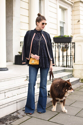 thank fifi blogger jacket top jeans shoes bag flare jeans black blouse yellow bag winter outfits
