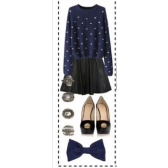 polka dots sweater skirt black skirt