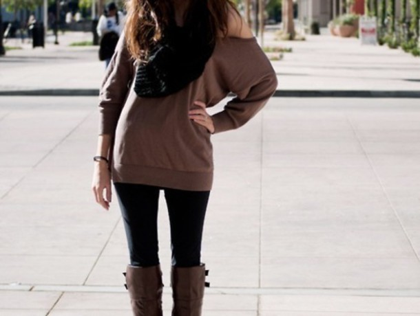 Sweater Brown Fall Outfits Winter Outfits Boots Leggings Scarf Off The Shoulder Sweater ...