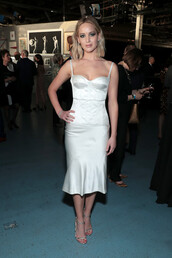 skirt,midi dress,white,white dress,jennifer lawrence,sandal heels,sandals,celebrity,bustier dress,top