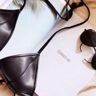 swimwear triangle bikini black bikini leather neoprene