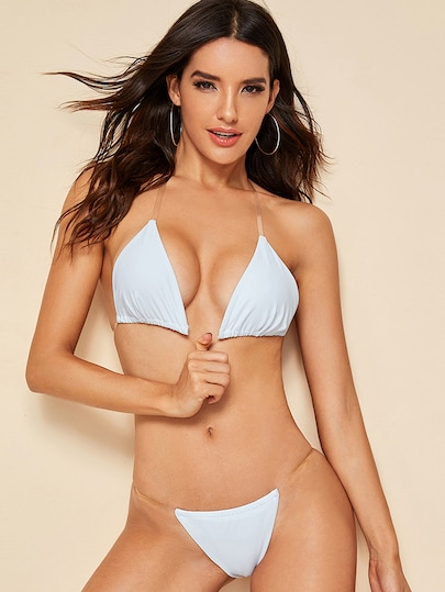Triangle Halter Top With Thong Bikini Set