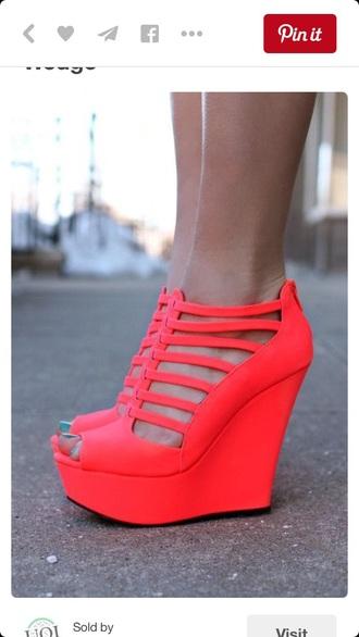 shoes summer wedges high heels cute high heels orange strappy heels