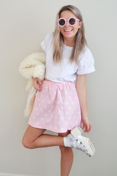 sunglasses round sunglasses coat white soft grunge soft grunge skirt cute baby pink high heels pastel pink crop tops pink sunglasses style white crop tops shoes skirt blouse