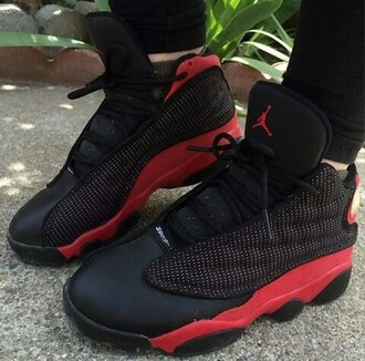 shoes jordans black red 13s female