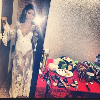 dress jhene aiko white bodysuit see through mesh flowers
