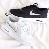 shoes,nike,nike air max thea,white shoes,white,pearl,swarowski,running shoes,black,black nikes,white nikes