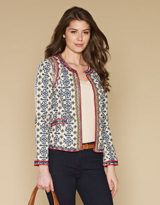 Mathilde Print Jacket | Grey | Monsoon