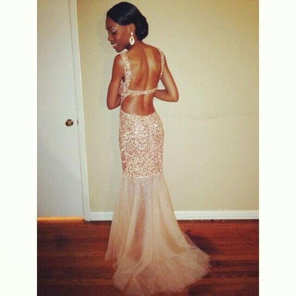 dress mermaid prom dress nude dress sequin dress glitter dress
