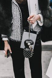 pants,tumblr,fashion week 2017,streetstyle,black pants,mini bag,bag,jacket,black and white,printed jacket