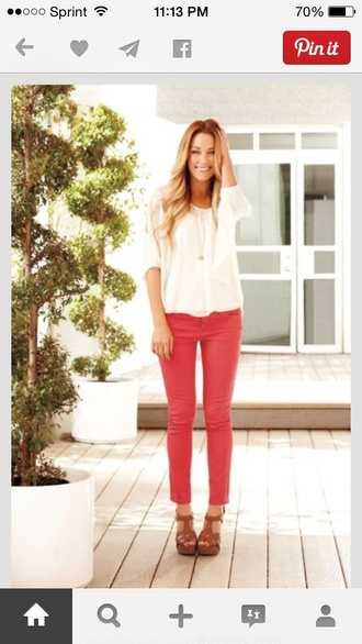 jeans colorful leggings pink red jeans fashion lauren conrad