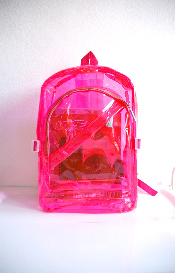 90s PVC Plastic Backpack / Neon Pink See Trough  by MadameGlam