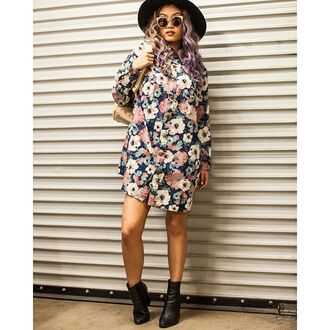 blouse gold soul floral button up oversized button up