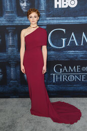 gown,long prom dress,sophie turner,one shoulder,prom dress,red carpet dress,burgundy dress,game of thrones,hairstyles