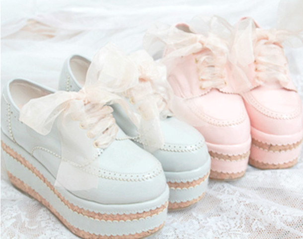shoes high top sneakers japanese fashion cork creepers laces cute shoes pastel pink pastel platforms pastel blue punk girly pastel goth emo goth cool kawaii platorm shoes pastel cute instagram kawaii accessory pink blue tumblr tumblr outfit