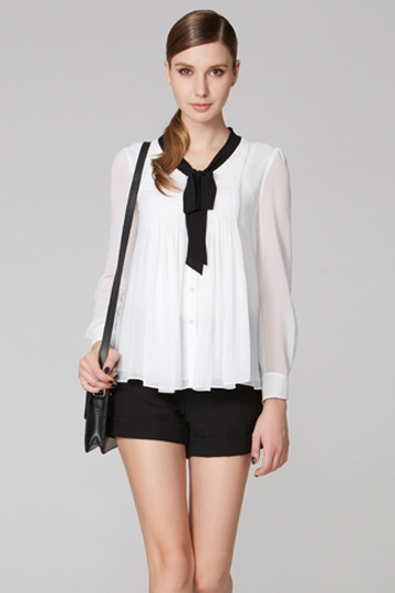 V-neck With Knot Flouncing Shirt [FDBI00429]- US$ 64.99 - PersunMall.com