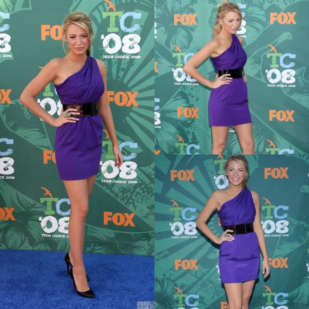 New arrival sexy purple blake lively celebrity dresses one shoulder mini short dress 2014 fashionable red carpet dresses