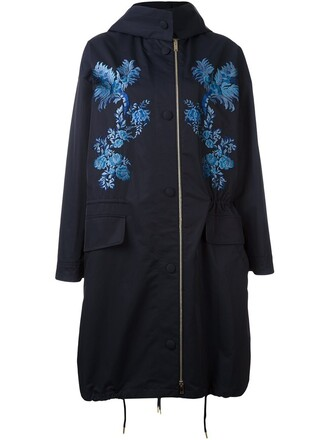 jacket embroidered floral blue