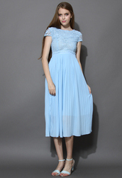dress,blue,floral,crochet,pleated,chiffon