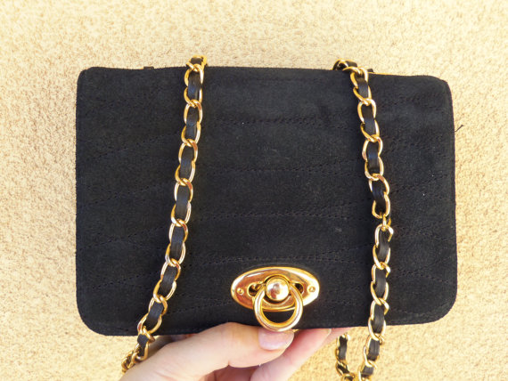 Vintage Quilted / Waffle Black Chain Purse  by OceanOfFlowers