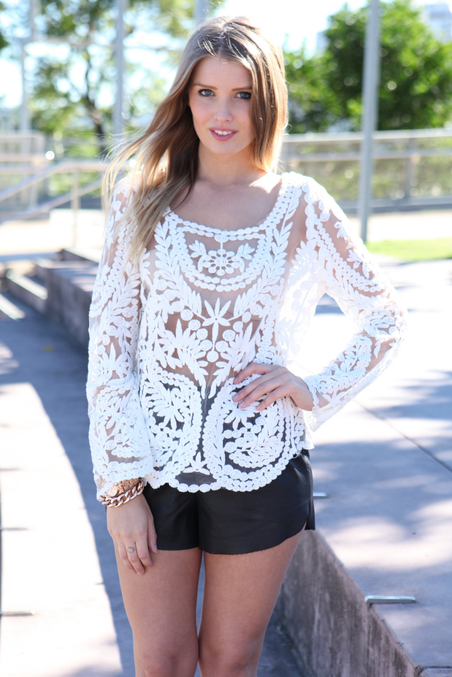 White Three-Quarter/Long Sleeve Top - White Lace & Mesh Long | UsTrendy