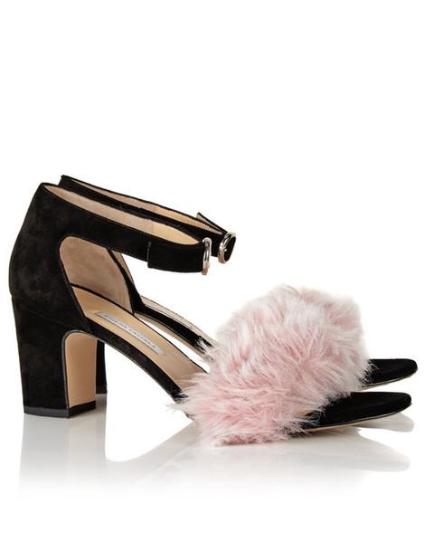 Bionda Castana fur heels suede black