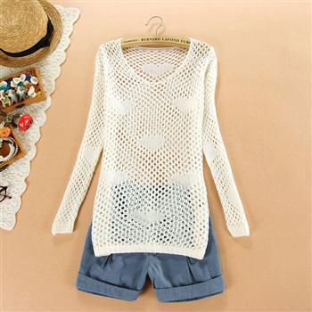 2013 spring and summer new long sleeved v neck pullover blouse sweet love hollow loose sweater female models yf 8066