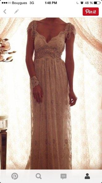 dress maxi dress prom dress glam style beige long dress details
