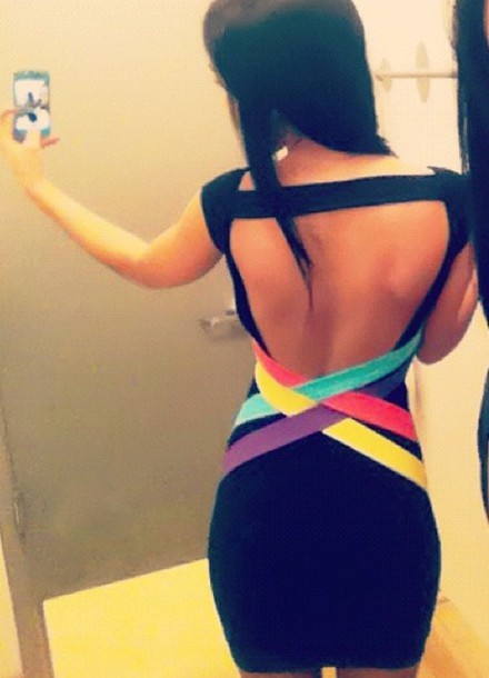 open back black dress bandage dress open backed dress dress with colored straps dress openback dress