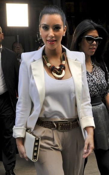 jacket white blazer clutch pants glasses kim kardashian necklace kourtney kardashian high waisted pants kardashian sunglasses shirt