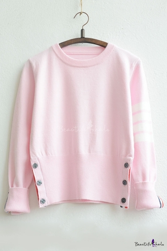 sweater pink cute girly fashion pastel kawaii long sleeves light pink soft grunge teenagers stripes cool beautifulhalo