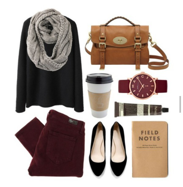 scarf grey scarf black top burgundy pants pointed flat shoes bag marc jacobs watch hipster wishlist notebook