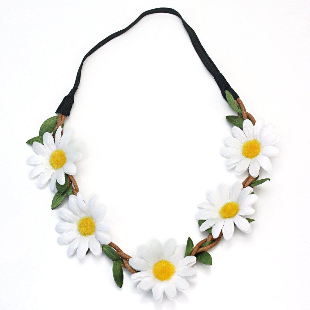 Amazon.com : elegant women bohemian floral white daisy flower headband for festival party : beauty