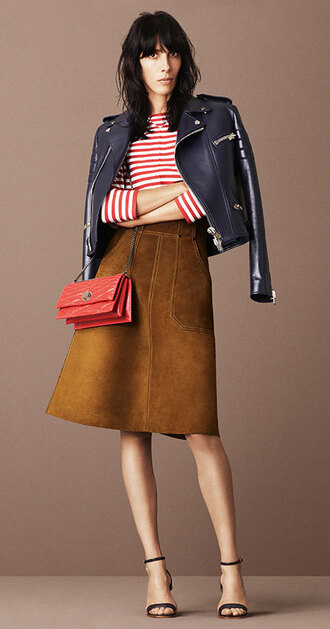 skirt suede skirt suede sandals jamie bochert top stripes striped top jacket purse model