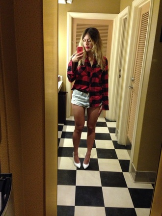 shirt abercrombie & fitch plaid shirt plaid one teaspoon blue encrusted rollers cut offs