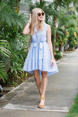 modern ensemble blogger shoes sunglasses jewels bag t-shirt dress blue dress button up wedges nude