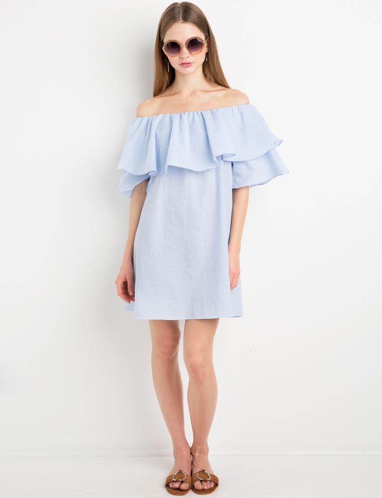 Gingham Ruffled Off The Shoulder Dress