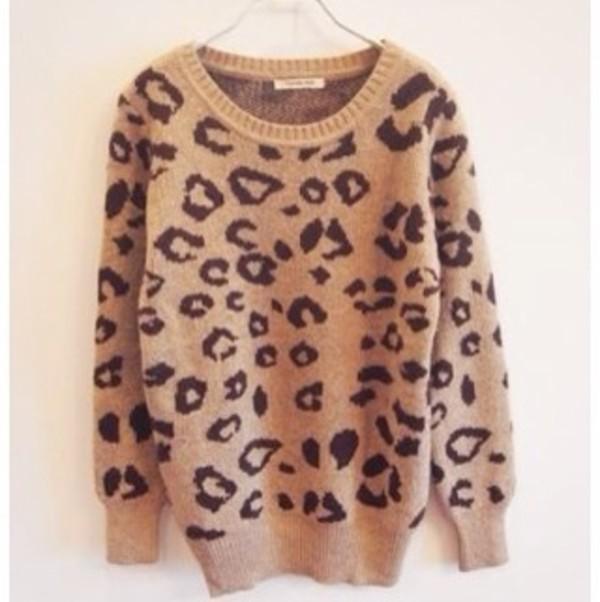 sweater beige leopard print