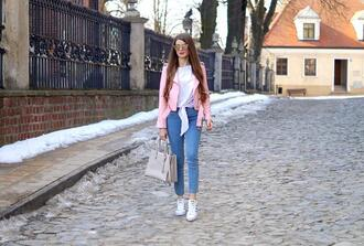 only my fashion style blogger jacket jeans blouse bag shoes sneakers handbag pink jacket spring outfits