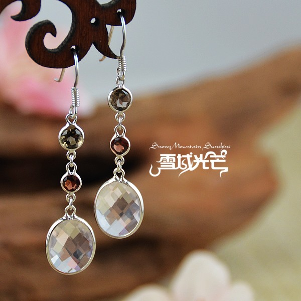 jewels handmade 925 silver smoky quartz topaz earrings topaz