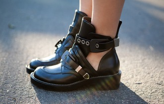 shoes grunge boots ankle boots ankle boots black cutout buckles cut out ankle boots cut out booties black boots black boots leather