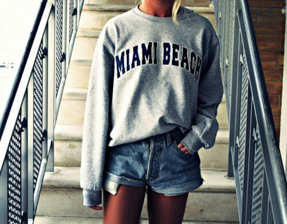grey swag miami shirt miami beach sweater/sweatshirt cool