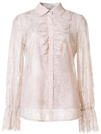 shirt lace shirt sheer women lace nude cotton top