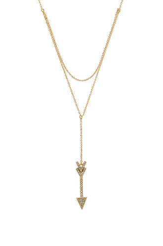arrow layered necklace metallic gold jewels