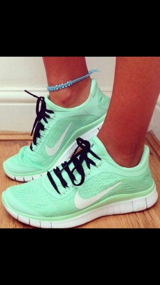 shoes mint nike free run women's