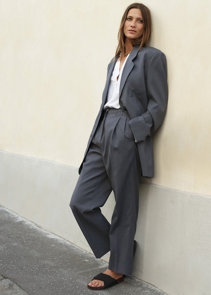 Graphite Pleated Suit Trousers